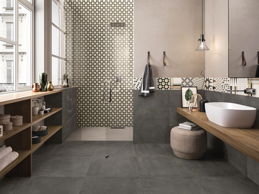 Indoor porcelain stoneware wall/floor tiles BE-SQUARE BLACK by EmilCeramica by Emilgroup