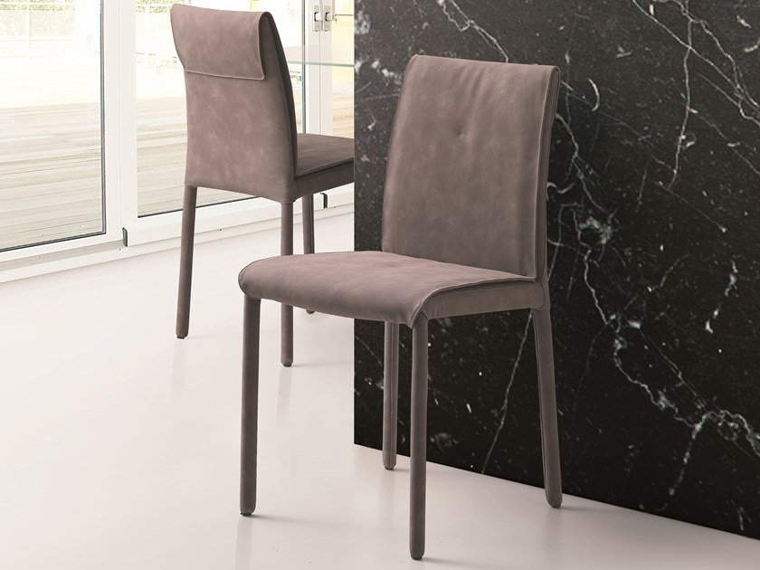 Upholstered Eco-leather chair BEA by Pacini & Cappellini