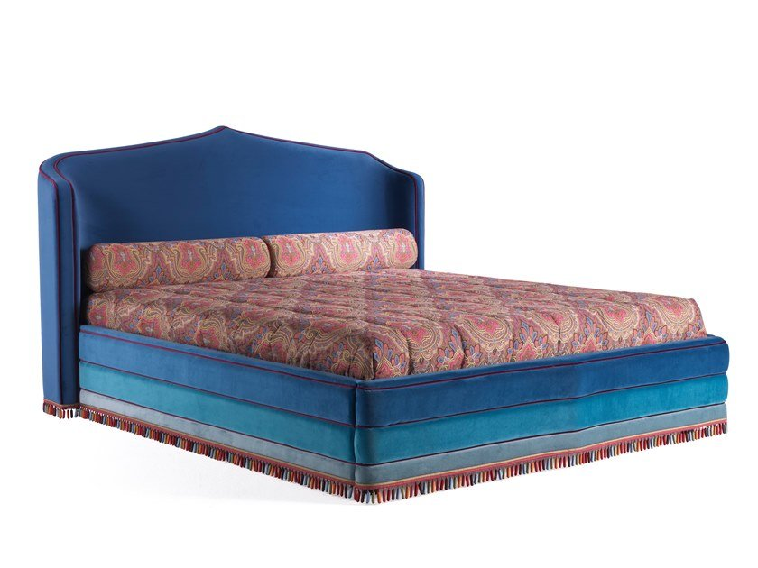 Velvet King Size Bed With Upholstered Headboard Amina Bed By Etro Home Interiors