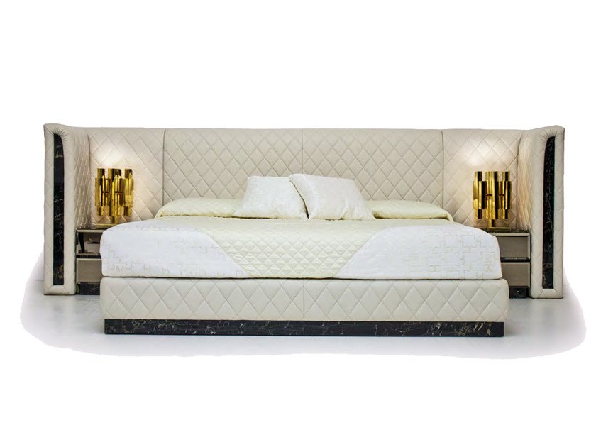 Leather double bed with upholstered headboard ROYAL | Bed by Formitalia