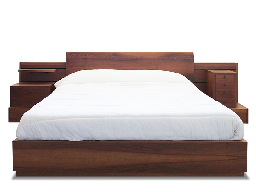 Wooden double bed with integrated nightstands Wooden bed by HEBANON