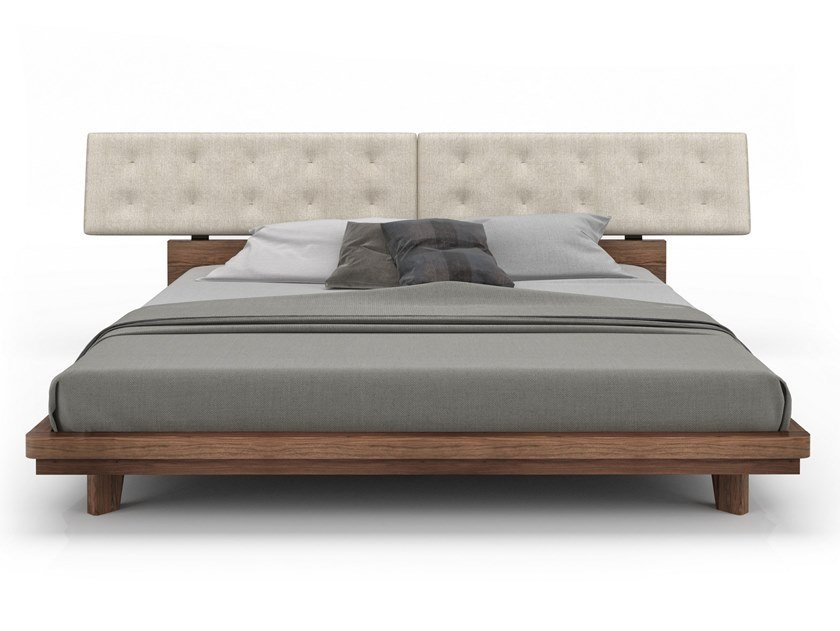 Walnut bed with tufted headboard NELSON | Bed by Huppé