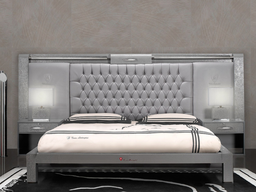 Leather double bed with tufted headboard TL RIBOT | Bed by Tonino Lamborghini Casa
