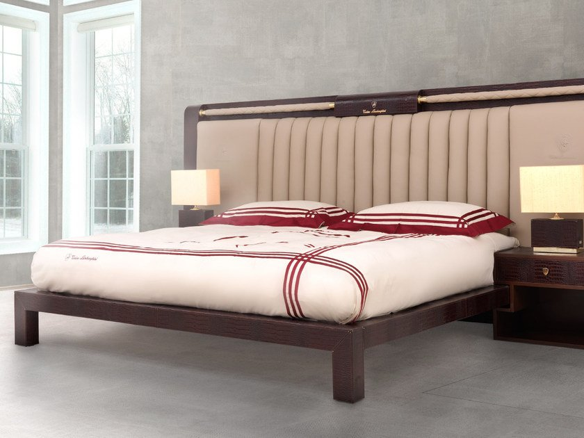 Leather double bed with upholstered headboard TL ALABAMA | Bed by Tonino Lamborghini Casa