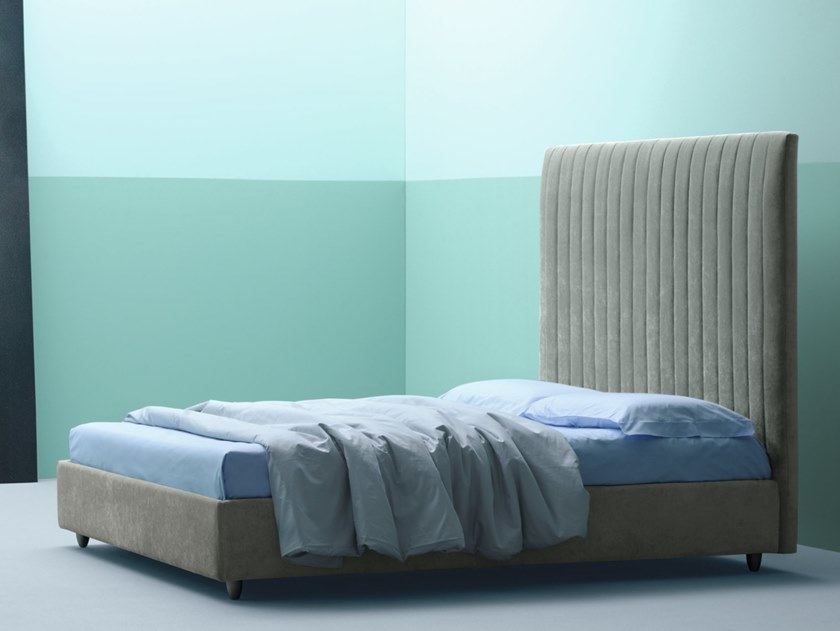 Storage bed with removable cover with high headboard BOUDOIR | Bed with high headboard by Frauflex