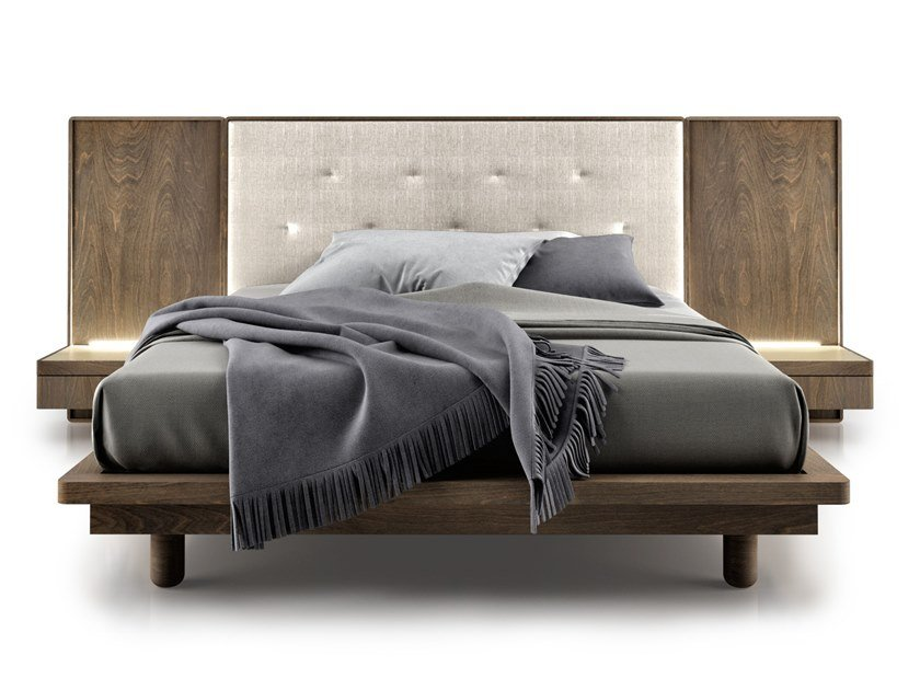 Bed with integrated nightstands with tufted headboard SURFACE | Bed with integrated lighting by Huppé