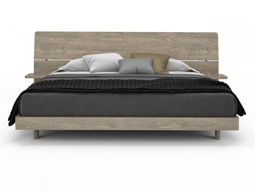 Birch bed double bed with integrated nightstands ALMA | Bed with integrated nightstands by Huppé