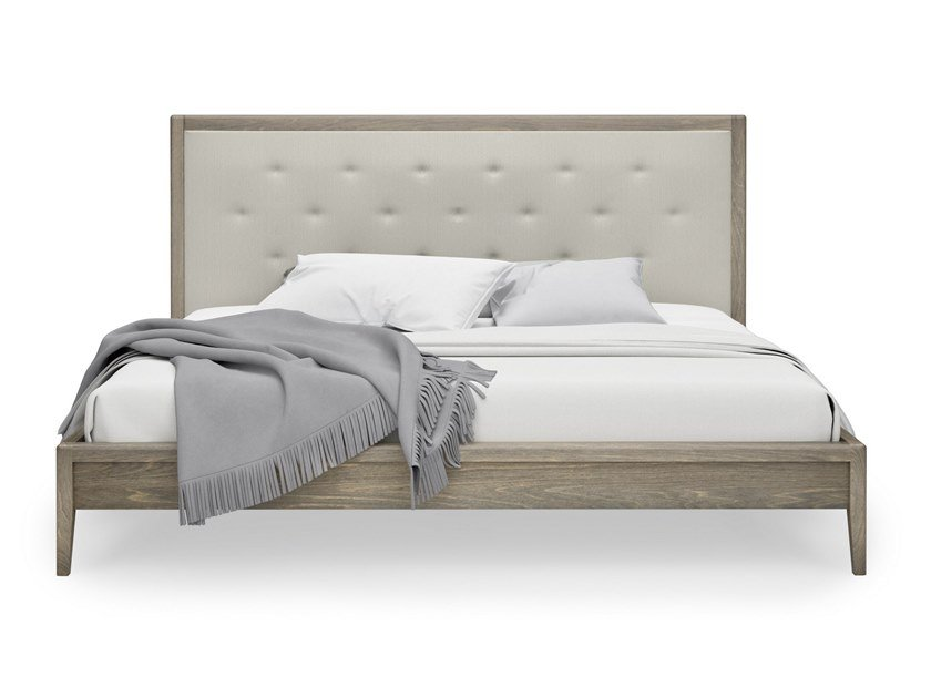 Birch bed double bed with tufted headboard EDMOND   Bed with tufted headboard by Huppé