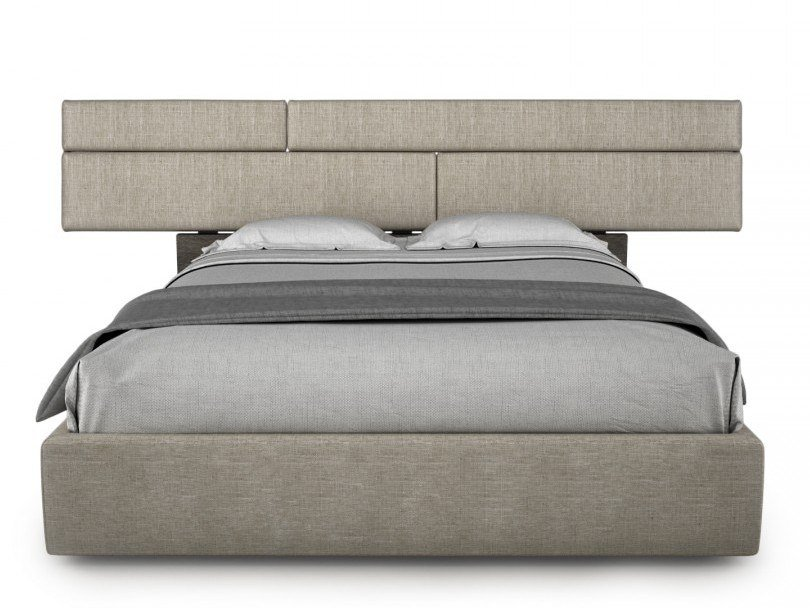 Fabric bed double bed with upholstered headboard PLANK | Bed with upholstered headboard by Huppé