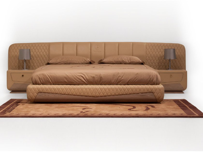 Leather double bed with upholstered headboard KYALAMI | Bed by Tonino Lamborghini Casa