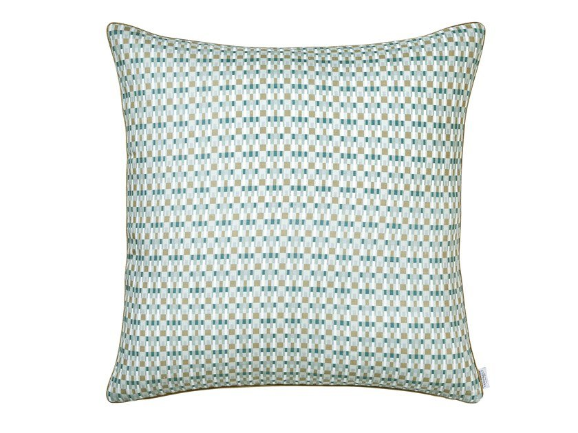 Printed linen pillow case with graphic pattern TERRITOIRE | Pillow case by Alexandre Turpault