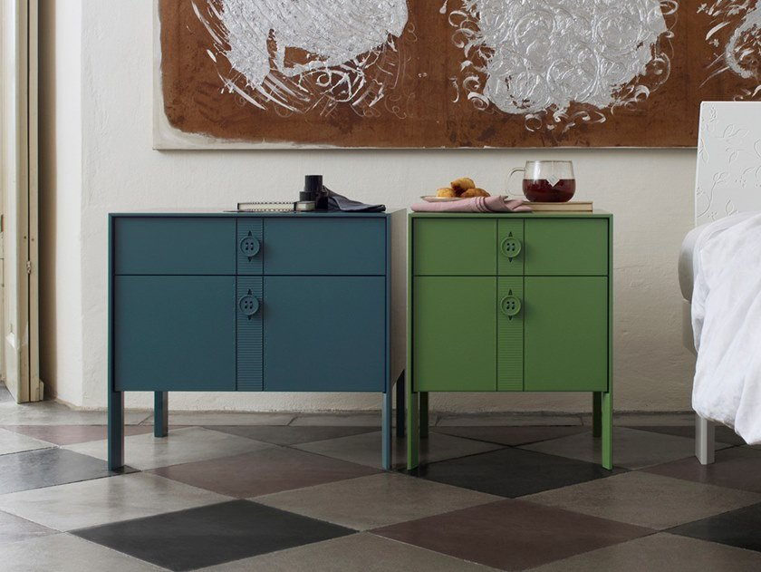 Lacquered bedside table with drawers ANOTHER DAY | Bedside table by Capo d'Opera