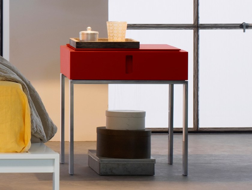 Lacquered bedside table with drawers ENTERPRISE | Bedside table by Capo d'Opera