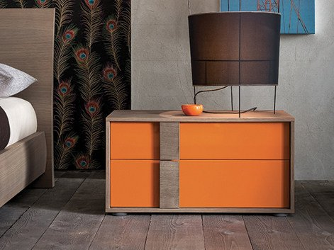 Lacquered rectangular wooden bedside table FLIPPER | Bedside table by Dall'Agnese