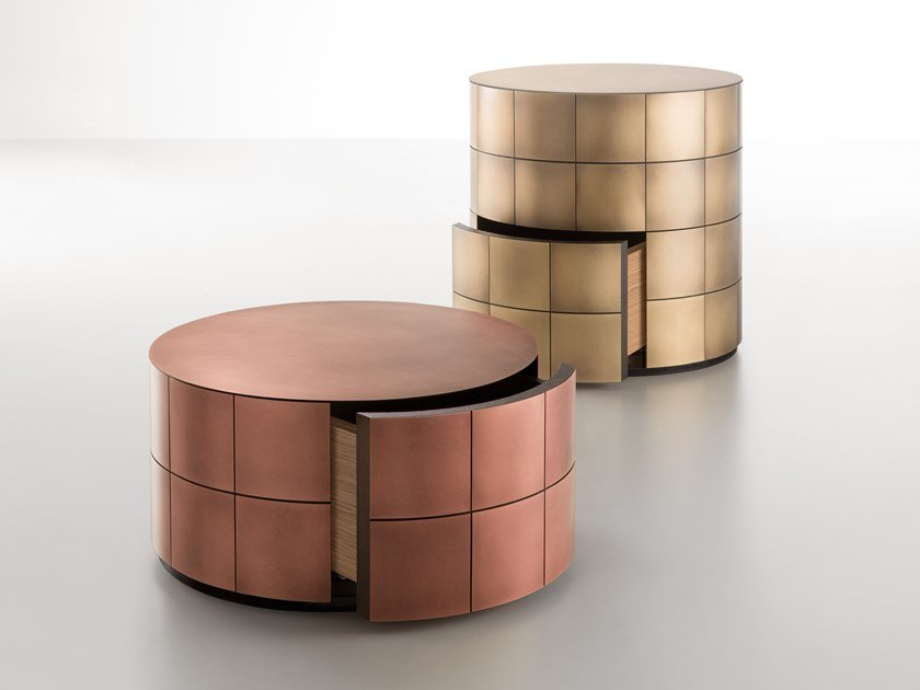 Round metal bedside table PANDORA | Bedside table by DE CASTELLI