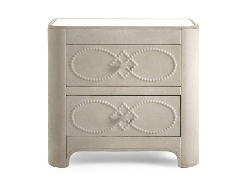Rectangular leather bedside table with drawers INFINITY | Bedside table by Gianfranco Ferré Home