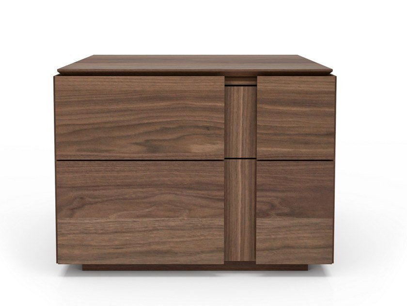 Rectangular walnut bedside table with drawers DUSK | Bedside table by Huppé