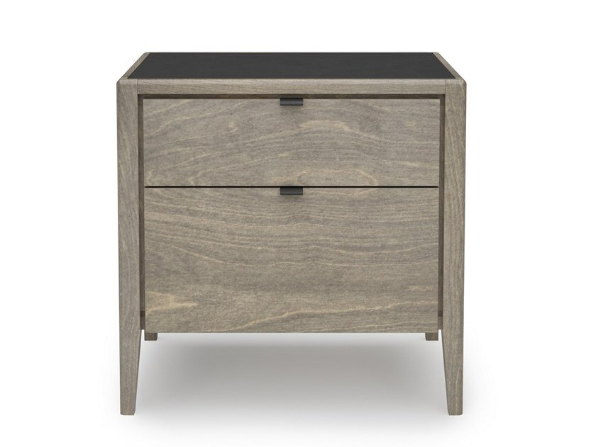 Rectangular birch bedside table with drawers EDMOND | Bedside table by Huppé