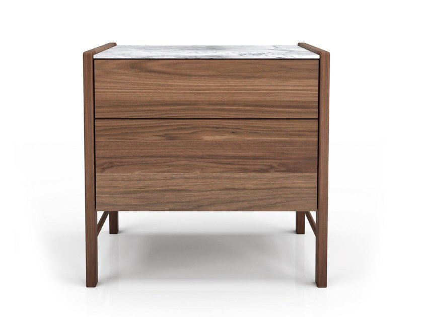 Rectangular walnut bedside table with drawers FRIDA | Bedside table by Huppé