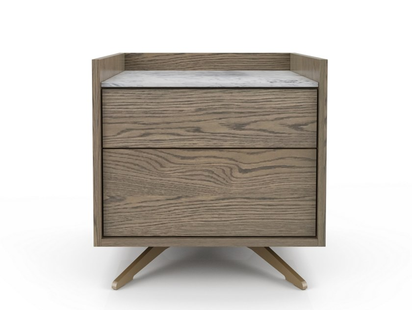 Rectangular oak bedside table MEMENTO | Bedside table by Huppé