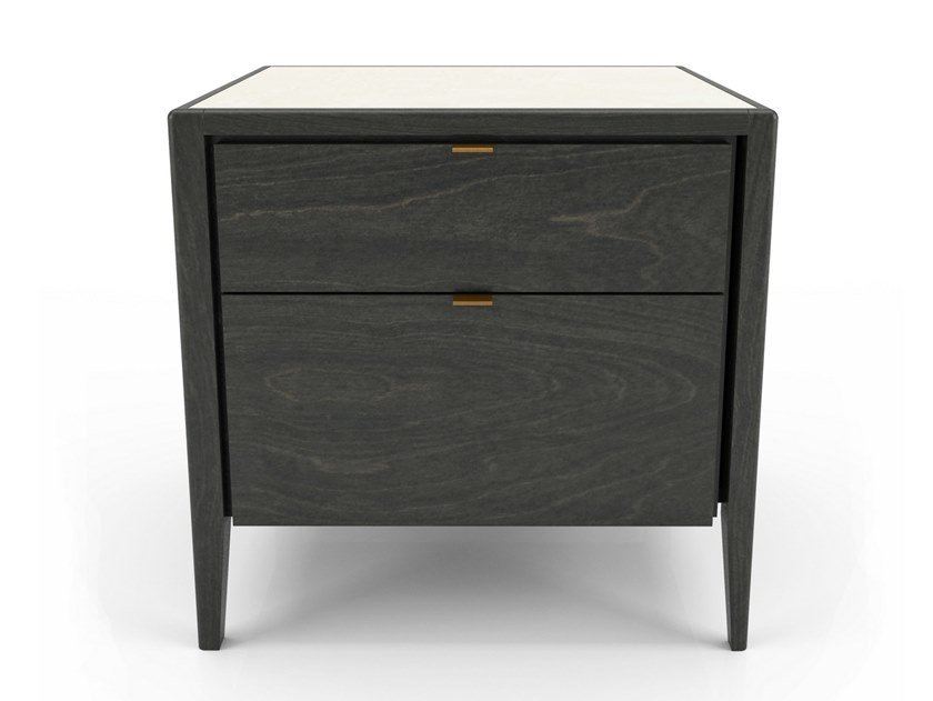 Birch bedside table with drawers WINSTON | Bedside table by Huppé