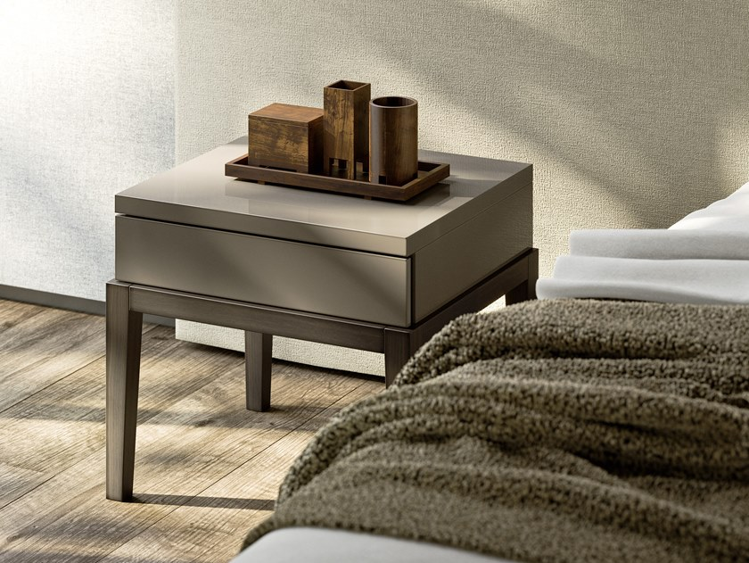 Rectangular wooden bedside table with drawers DE VILLE   Bedside table by JESSE