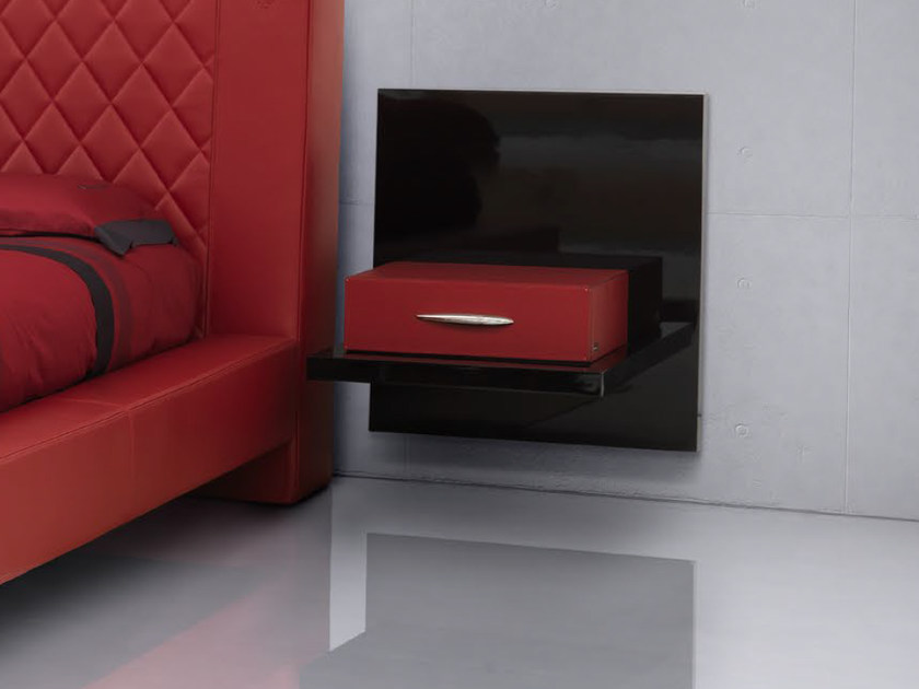 Rectangular wall-mounted leather bedside table INTERLAGOS | Bedside table by Tonino Lamborghini Casa