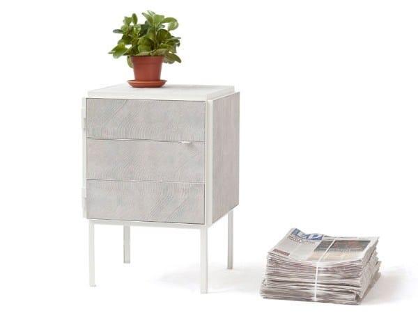 Square NewspaperWood bedside table FRAMED | Bedside table by Vij5