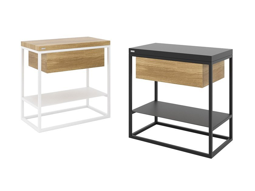 Steel and wood coffee table / bedside table MOONLIGHT | Bedside table with drawers by take me HOME