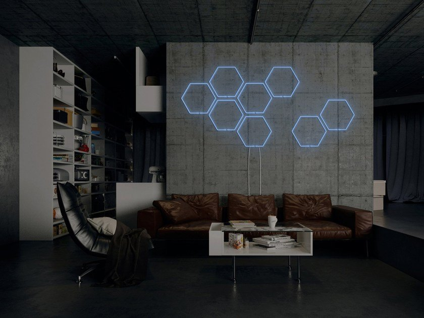 Wall-mounted neon light installation BEE by sygns