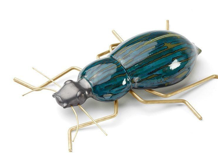 Contemporary style ceramic decorative object BEETLE DEEP BLUE by Mambo Unlimited Ideas