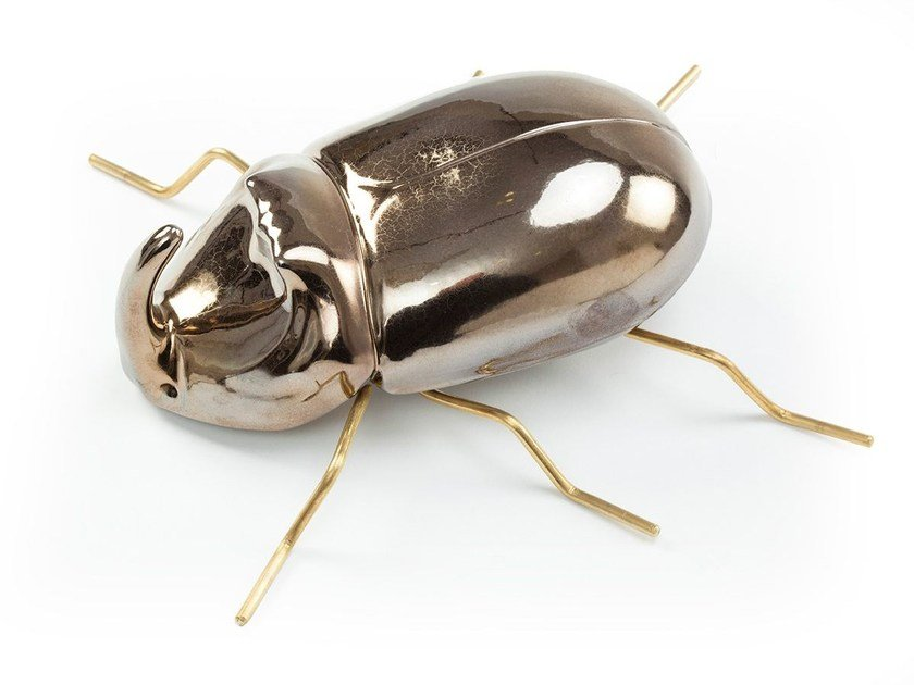 Contemporary style ceramic decorative object RHINOCEROS BEETLE Gold by Mambo Unlimited Ideas