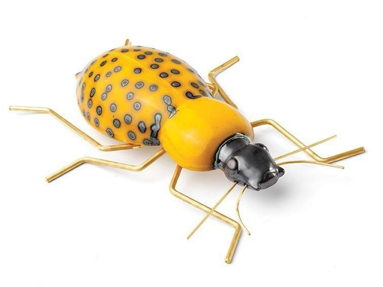 Contemporary style ceramic decorative object BEETLE YELLOW by Mambo Unlimited Ideas