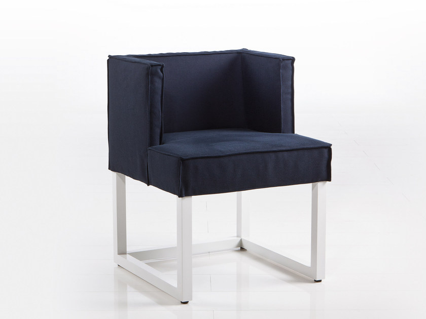 Sled base fabric chair with armrests BELAMI | Fabric chair by brühl