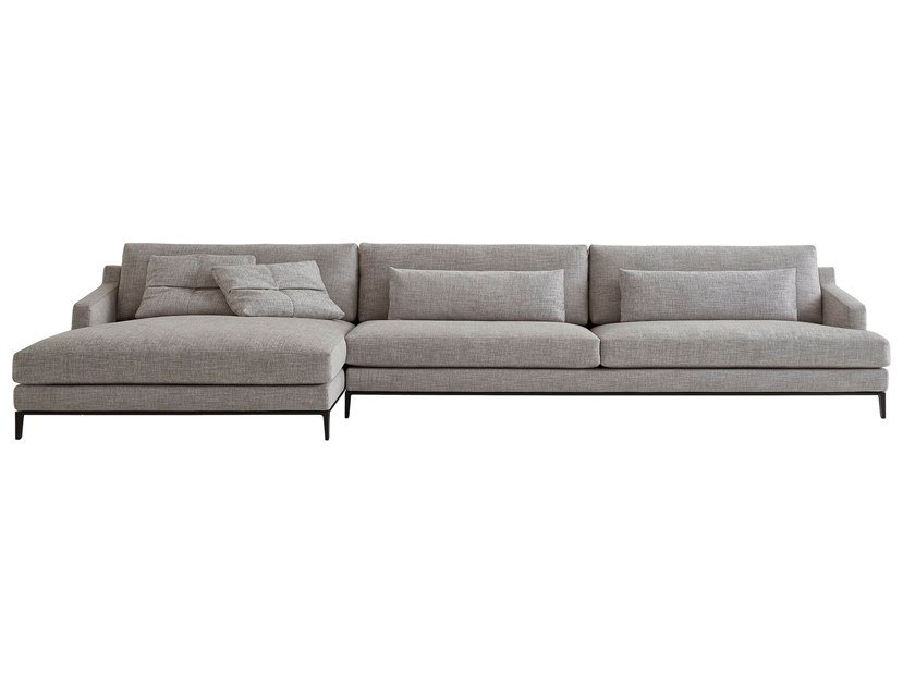 Fabric sofa with chaise longue BELLPORT | Sofa with chaise longue by poliform