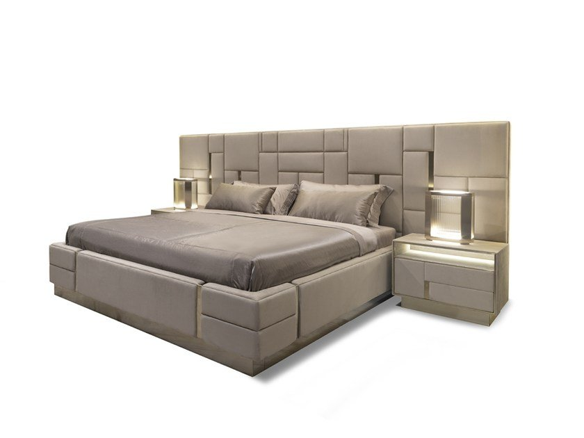 Leather double bed with upholstered headboard BELOVED by Visionnaire