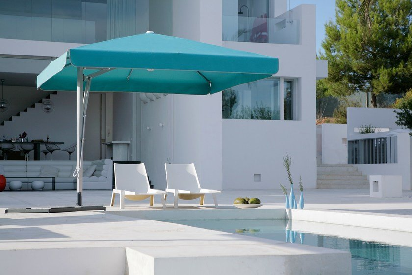 Offset round square acrylic Garden umbrella BELVEDERE | Offset Garden umbrella by Caravita