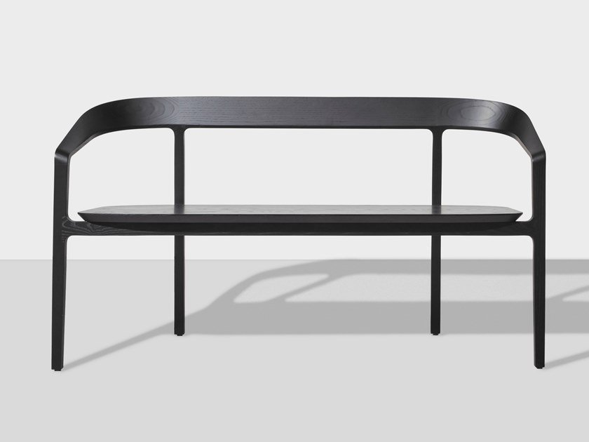 Wooden bench with back BOW | Bench by DesignByThem