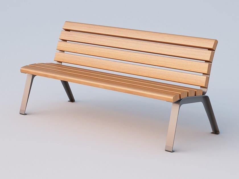 Okumè Bench with back BETTY | Bench by DIMCAR