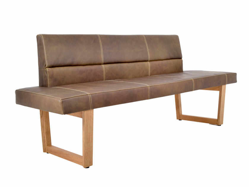 Upholstered leather bench with back BENCH HOME by KFF