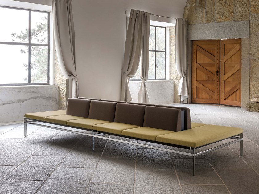 Fabric bench seating with back PONTE | Bench seating with back by Luxy