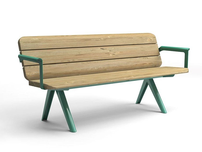 Stainless steel and wood Bench with armrests with back NUNU | Bench with armrests by VESTRE