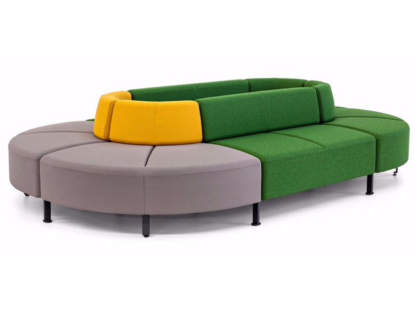 Modular fabric bench with back BEND | Bench with back by ACTIU