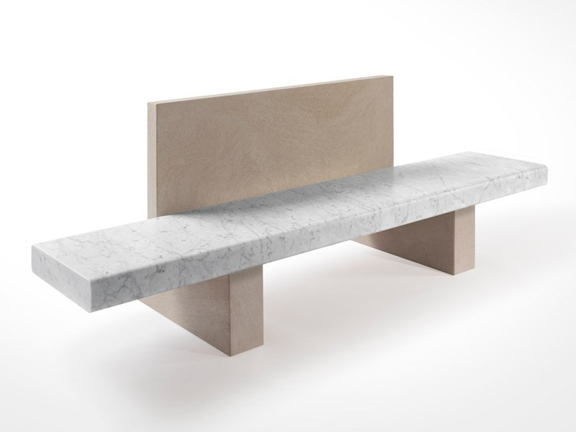 Marble bench with back SPAN | Bench with back by SALVATORI