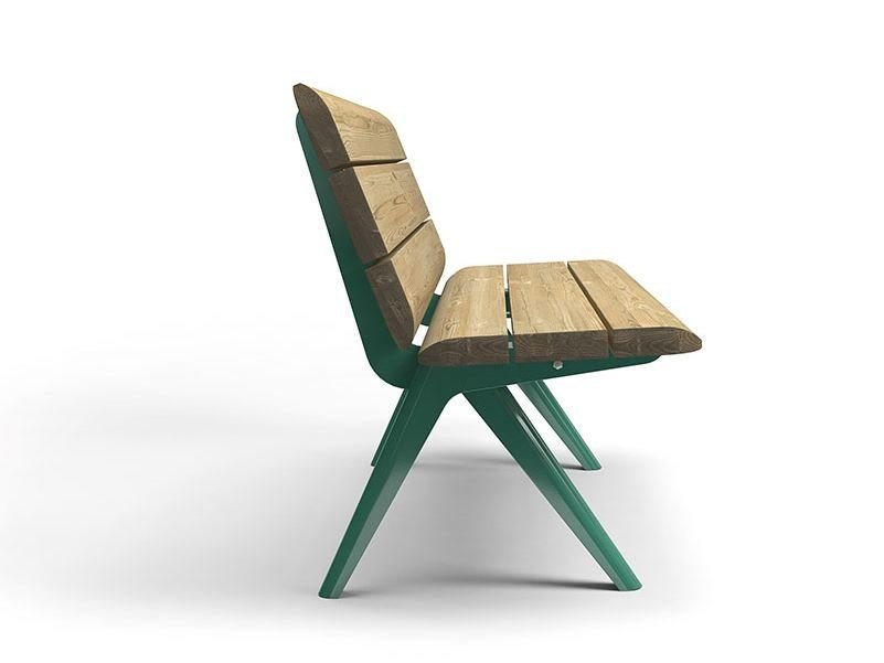 Steel and wood Bench with back NUNU | Bench with back by VESTRE