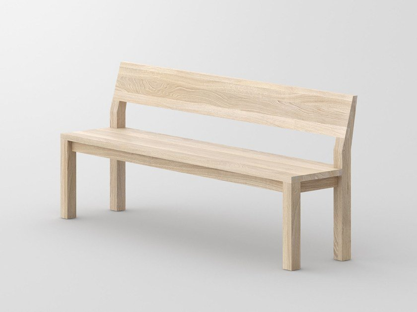 Solid wood bench with back CUBUS   Bench with back by Vitamin Design