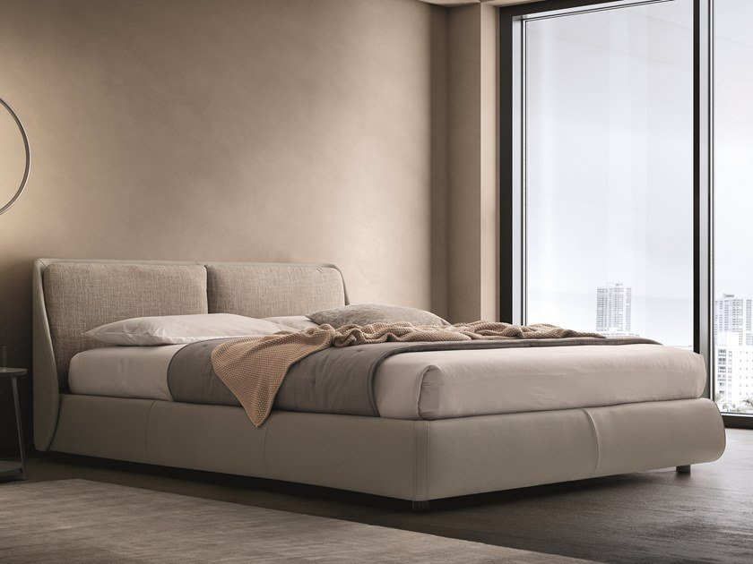 Leather bed with upholstered headboard BEND | Leather bed by Ditre Italia