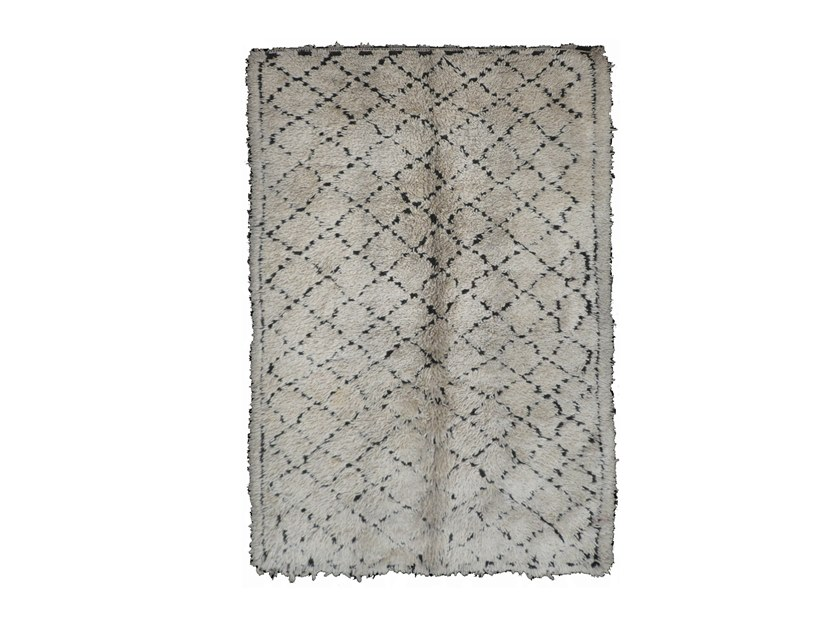 Long pile rectangular wool rug with geometric shapes BENI OURAIN TA762BE by AFOLKI