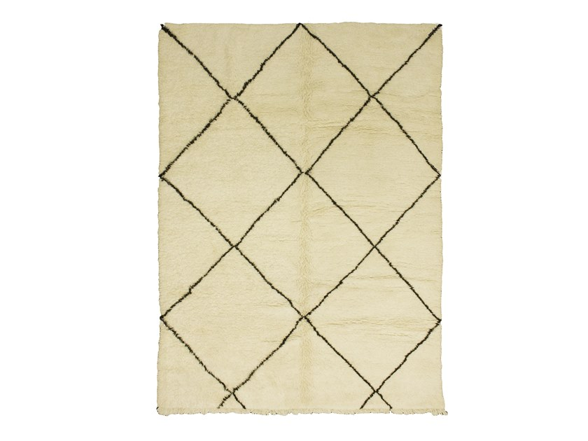 Long pile rectangular wool rug with geometric shapes BENI OURAIN TAA1001BE by AFOLKI