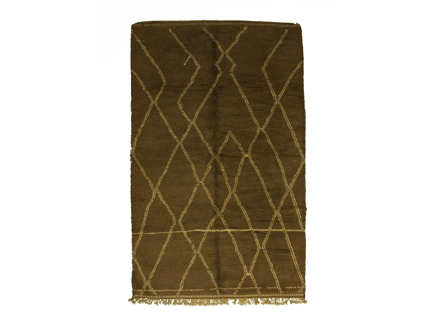 Long pile rectangular wool rug with geometric shapes BENI OURAIN TAA1002BE by AFOLKI